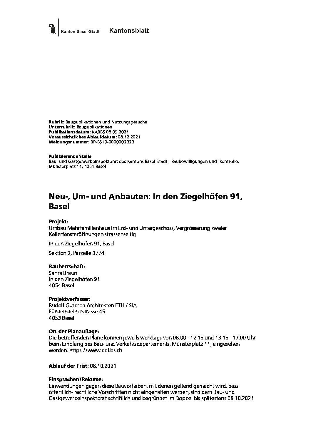 Mitteilung aus dem Kantonsblatt: Neu-, Um- und Anbauten